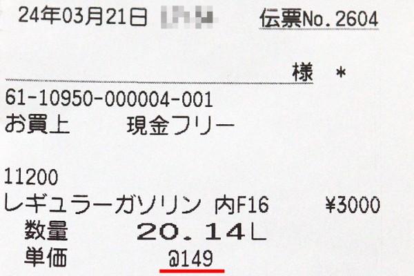 レギュラー149円