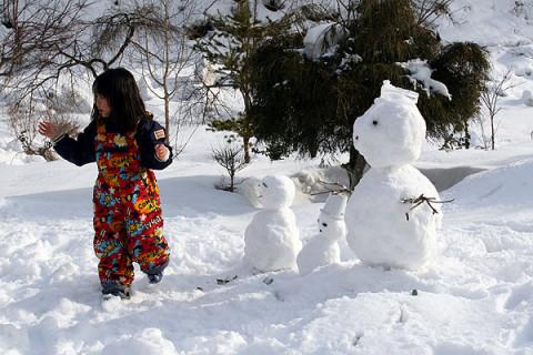2010年2月16日 誕生日に雪だるま